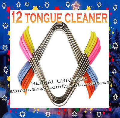 12 Pcs Tongue Cleaner / Scraper Oral Care with Colourful Plastic Handle H3D UK