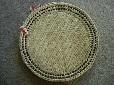 Set of 7 CHINESE ARTS & CRAFTS Natural Woven Round Placemats - NEW WITH TAGS