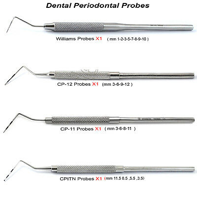 Periodontal Probes Williams CPITN-CP12-CP11 Dental Basic Examination Kit New