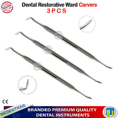 Dental Amalgam Ward Carver Composite Restorative Filling Dentist Tools Set of 3