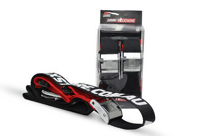 MXStore NEW Mx Black Red Tiedowns 38mm Snap Hook Motocross Dirt Bike Tie Downs
