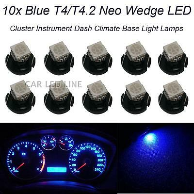 10x Blue T4/T4.2 5050-SMD Neo Wedge LED Bulb Cluster Instrument Dashboard Lights