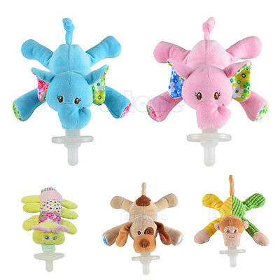 Infant Baby Boy Girl Silicone Pacifiers with Cuddly Plush Animal Baby Nipples