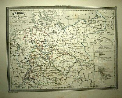 1843 Vuillemin Map PRUSSIA & THE GERMAN CONFEDERATION, Table of 33 States SCARCE