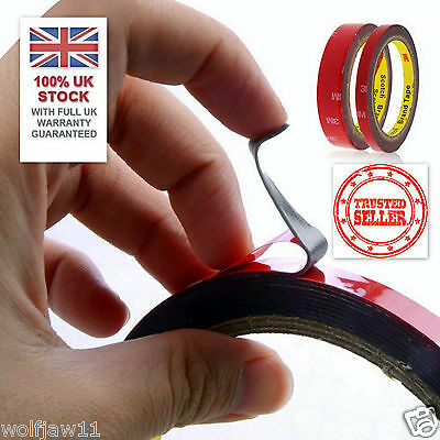 UK STOCK [1x, 2x or 15x] 3M™ 6mm/3m Auto Car Acrylic Double Sided Adhesive Tape