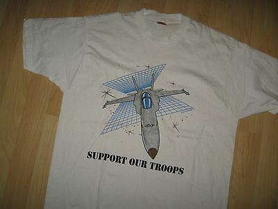 USA Navy Jets Tee - USN Military Airplane Vintage 1988 Support Troops T Shirt XL