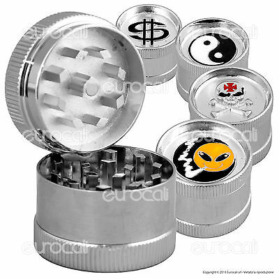 MINI Grinder Tritatabacco IN METALLO 3 Parti Trincia Tabacco Pocket Trolly