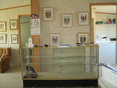 glass case, 68 inches by 42 inches by 2 feet ,10 yrs old, has adjustable shelves