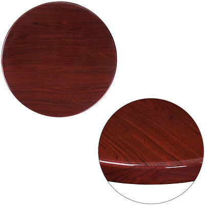 24'' Round Resin Restaurant Table Top in Mahogany Finish - Bar Table Top