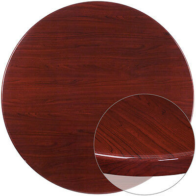 48'' Round Resin Restaurant Table Top in Mahogany Finish - Bar Table Top