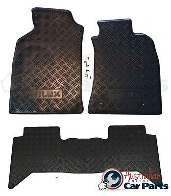 Hilux Rubber Floor Mats Front & Rear 2011-15 New Genuine Toyota DCab All Weather