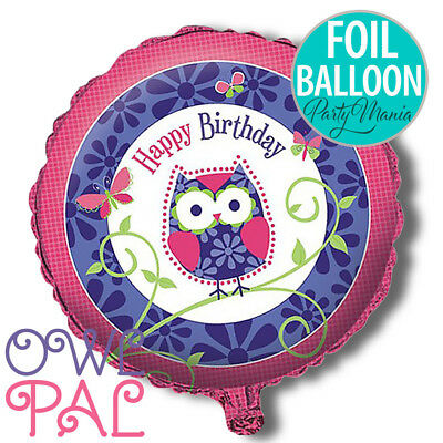 Owl Pal Happy Birthday Girl Party Supplies Decorations Foil Balloon