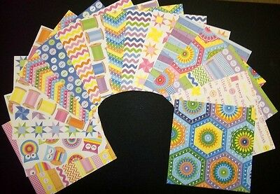 "*PATCHWORK* Colourful Scrapbooking /Cardmaking Papers x 16 - 15cmx15cm (6"" x 6"")"
