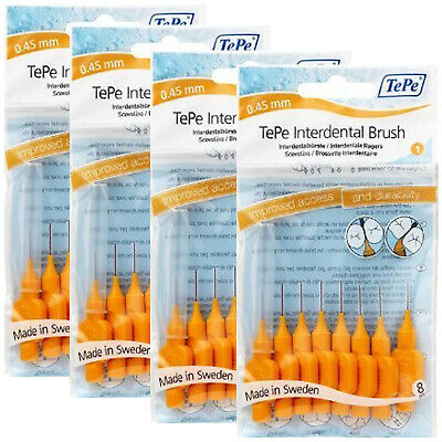 Neuf d'Origine TePe 32 Brossettes interdentaires Orange 0.45mm (TEPEOrange4bun)