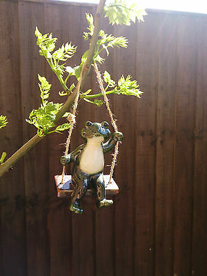 Frog On Swing Shiny Ceramic Ornament Wall Hanging Garden home patio decoration