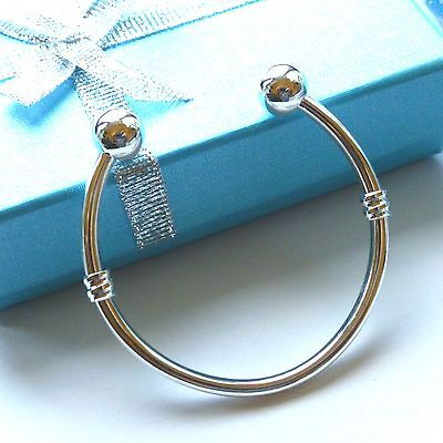 silver baby boys bangle Torque design in gift box or pouch christening baptism