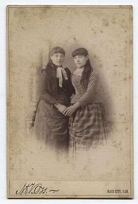 Cabinet Card Sisters In Affectionate Pose. Hays City, Kansas.