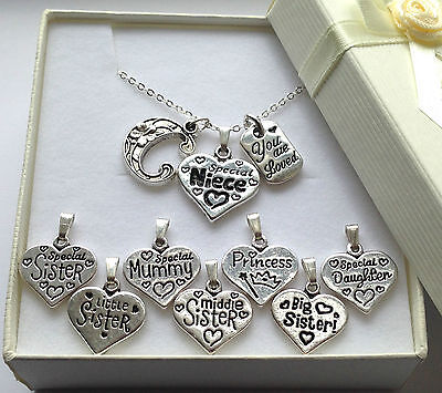 Initial necklace with personalised charm & made with love pendant in gift box