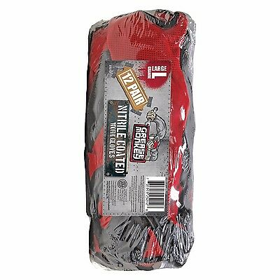 12 Pack Grease Monkey Nitrile Coated Gloves Red & Black (L) Large, Work Mechanic