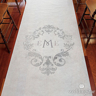 Monogram Simplicity White Gray Personalized Wedding Ceremony Aisle Runner Q26923