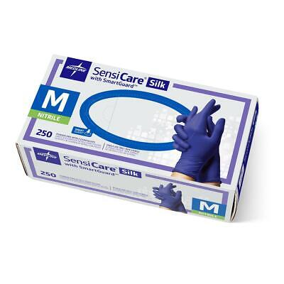 Medline SensiCare Silk Nitrile Exam Gloves, Blue, Medium, Box of 250 - MDS2585H