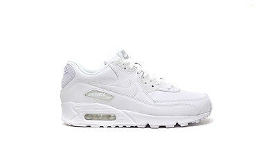 Nike Men's AIR MAX 90 LEATHER Shoes NEW AUTHENTIC White 302519-113