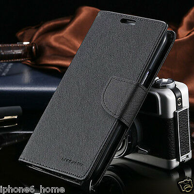 iPhone 6 6s Genuine MERCURY Goospery Black Flip Case Wallet Cover FREE Shipping
