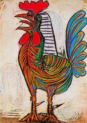 Pablo Picasso cock museum quality giclee 8.3X11.7 canvas print art reproduction