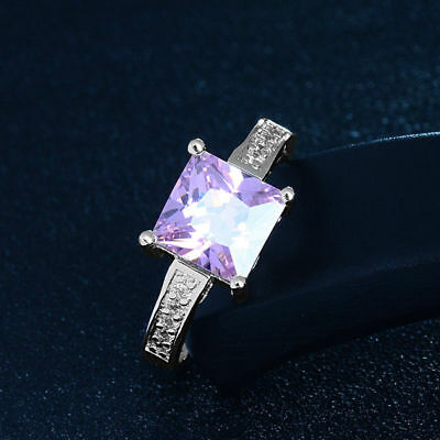 Attractive 1pc Silver Pink Cubic Zirconia Classic Women's Wedding Ring Size 7-9