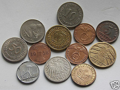 Monedas Antiguas Alemanas. WEHRMACHT WWII - A GROUPING OF GERMAN COINS