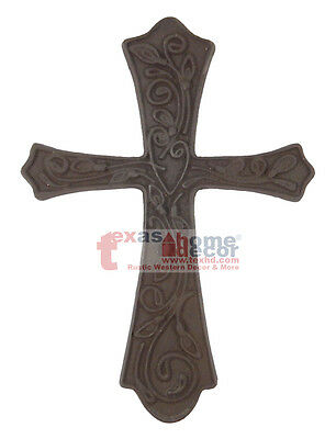 Brown Color Cast Iron Decorative Wall Cross Fleur De Lis Floral Hanging 11x8 in