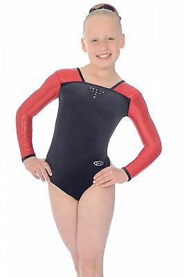 The Zone Deluxe Jewel Long Sleeve Velour Gymnastics Leotard-Girls Sizes-Black