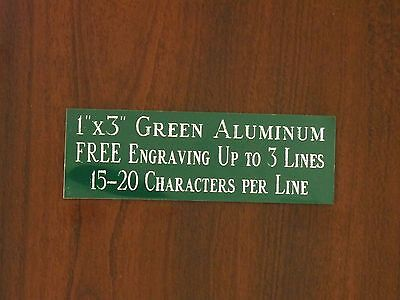 "FREE CUSTOM ENGRAVED 1""x3"" GREEN NAME PLATE ART-TROPHIES-GIFT-TAXIDERMY-FLAG"