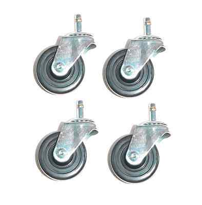 """Clearance - Set of 4 Swivel Casters 3"""" Hard Rubber Wheel 7/16"""" Grip Ring Stem"""