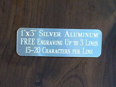 "1""x3"" SILVER NAME PLATE ART-TROPHIES-GIFT-TAXIDERMY-FLAG CASE FREE ENGRAVED"