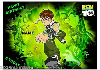 Ben 10 Boys Edible A4 Rectangle Cake Topper Wafer Card Rice Paper Free Post