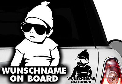1x Aufkleber WUNSCHNAME ON BOARD Sticker Hangover Baby Auto Kind fährt mit FUNq