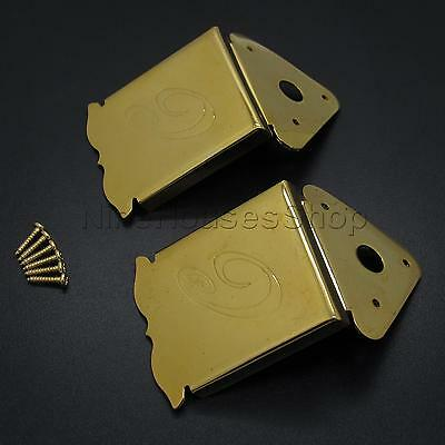 2pcs Gold Floral Pattren Mandolin Guitar Tailpiece with Cover