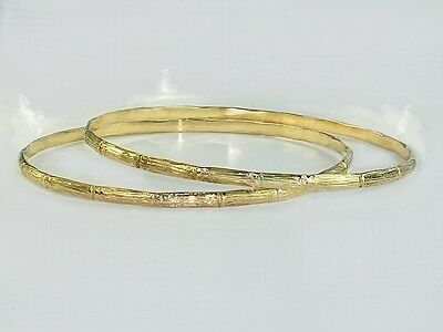 W/S 6 bangles per LOT real 1/20 14k gold filled bamboo 2.25inch diamtr. bangles
