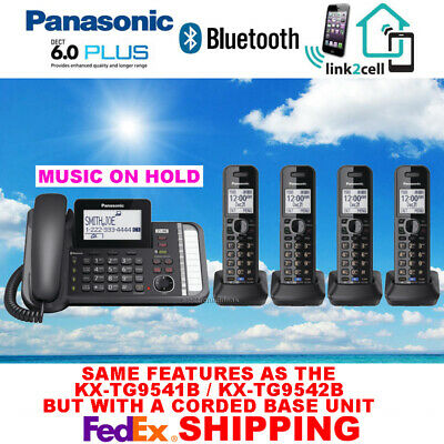 Panasonic Kx-Tg9582B 2-Line Bluetooth Music On Hold Corded - 4 Cordless Phones