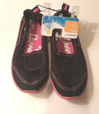 Speedo Water Shoes Girls Size S 13/1 Black Mesh Pink Soles and Accents NWT