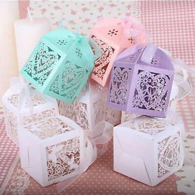 10 50x Luxury Wedding Favors Sweet Cake Candy Baby Shower Gift Boxes