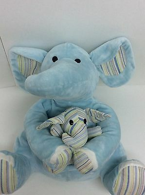 """Animal Alley Large Blue Elephant Holding Baby Green Stripes Ears 16"""" Plush"""