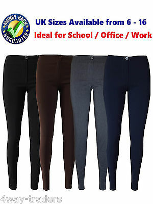 Girls Ladies  Office Work Skinny School Stretch Trousers Black, Navy,,Grey 4-18