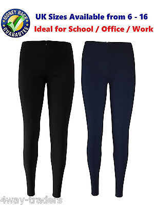 Girls Ladies Skinny School Office Stretch Invisible Zip Trousers Black,Navy Blue