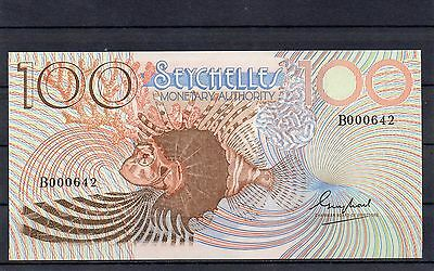 SEYCHELLES Africa 100 Rupees UNC 1980 p-27 Low Serial Number B prefix