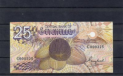 SEYCHELLES Africa 25 Rupees UNC 1983 p-29 Low Serial Number C prefix
