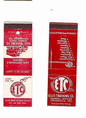 Ellis Tricking Company Indianapolis IND pair of 2 different  matchbook covers