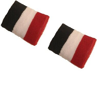 2 x Sports Wrist Sweatbands Unisex Wristband Tennis Squash Badminton Gym Stripes