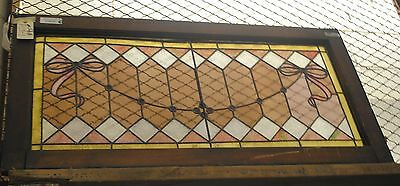 Antique Stained Glass Window,Pink bows and diamonds, vintage, lead, texture